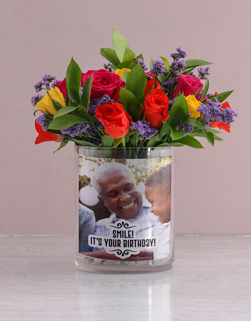 colour: Personalised Mixed Roses in Birthday Photo Vase!