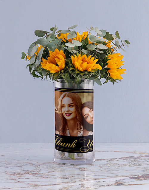 flowers: Personalised Sunflowers in Thank You Photo Vase!