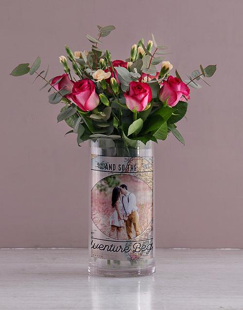 personalised: Personalised Roses in Adventure Begins Photo Vase!