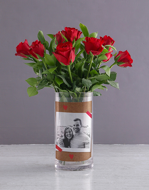 personalised: Personalised Red Roses in Forever Photo Vase!
