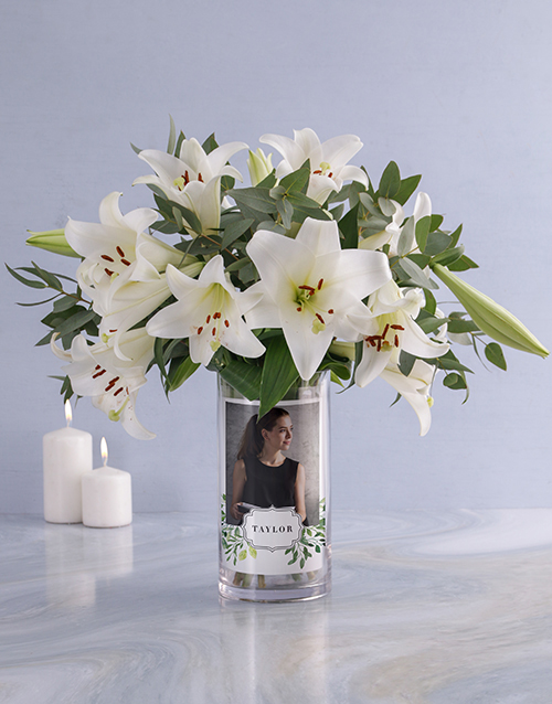 colour: Personalised Saint Joseph Lilies in Vase!