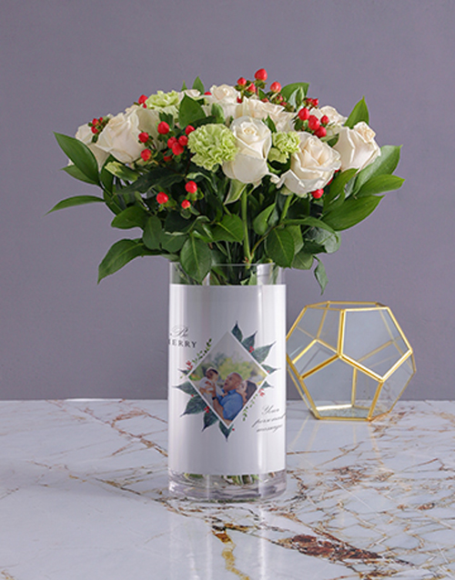 personalised: Personalised Festive Florals in Merry Photo Vase!
