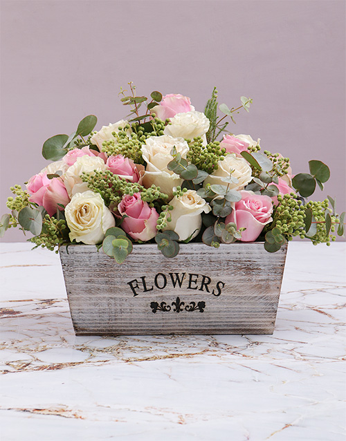 easter: Rustic Blush Flowers In Wooden Crate!