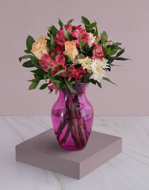 coloured-vases: Roses And Peruvian Lilies In Pink Flair!