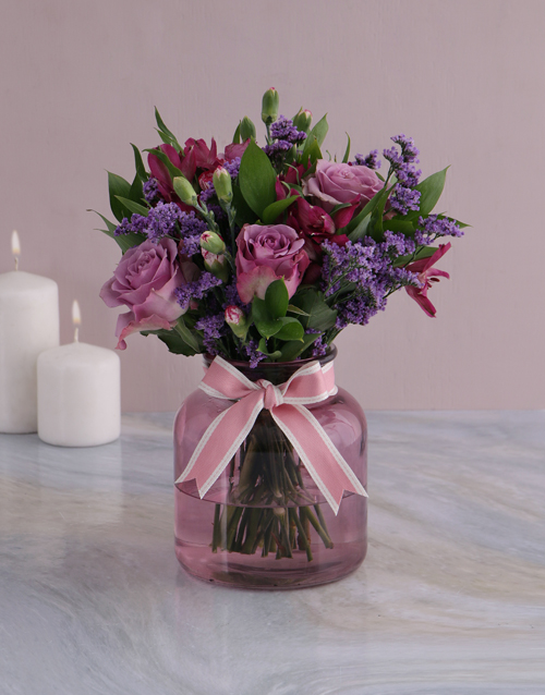coloured-vases: Lilac Floral Mix In Purple Vase!