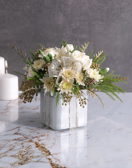 year-end: Radiant White Florals in Square Vase!