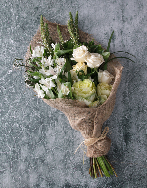 easter: White Rose in Hessian Bouquet!