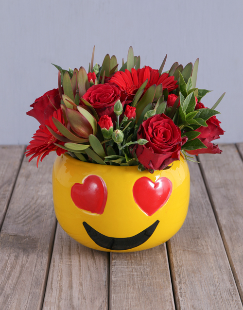 anniversary: Red Rose Mix Emoji Pot!