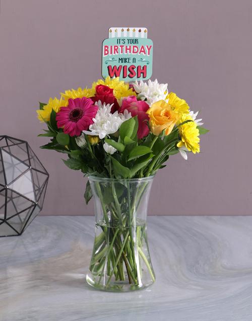 colour: Happy Birthday Floral Bright Vase!