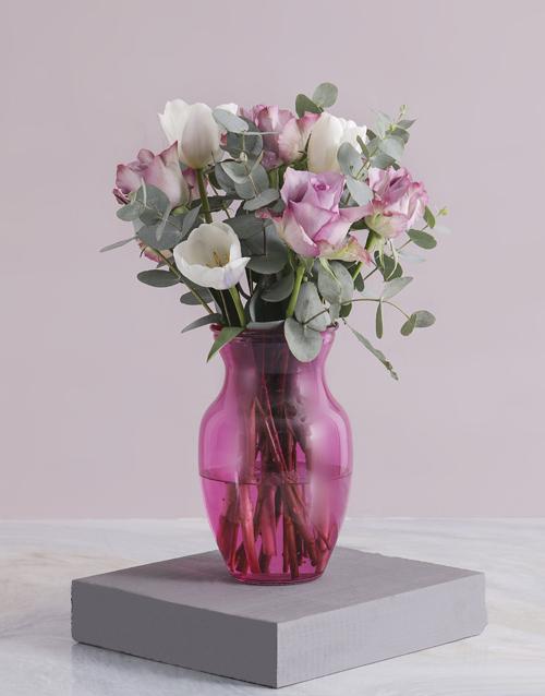 colour: Pink Delight Tulip Arrangements!