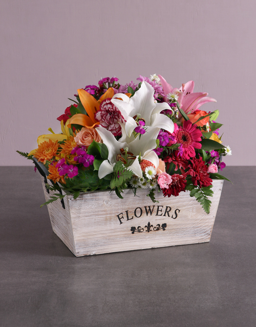 easter: Mixed Flowers In A Wooden Box!