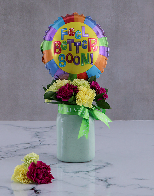 flowers: Feel Good Balloon And Arrangement In A Jar!
