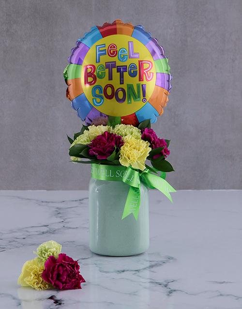 get-well: Feel Good Balloon And Arrangement In A Jar!
