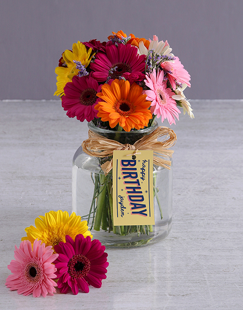 colour: Personalised Happy Birthday Gerbera Arrangement!