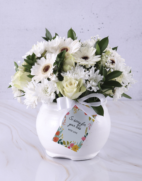 colour: White Rose And Daisy Sympathy Pot!