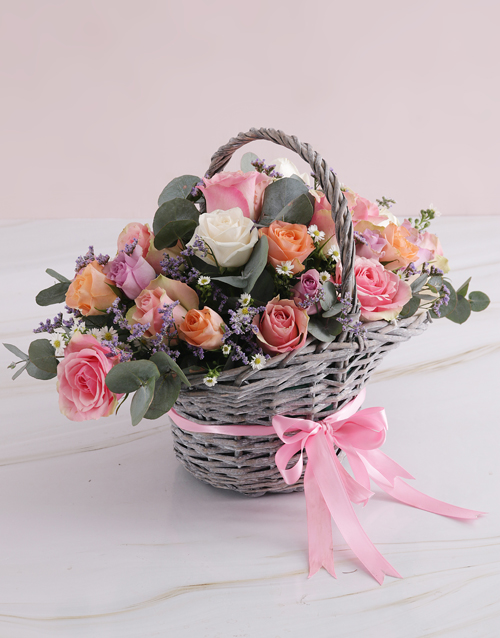 flowers: Radiant Roses Willow Basket!