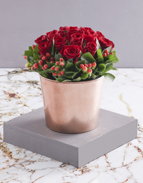 flowers: Red Roses in Copper Pot!