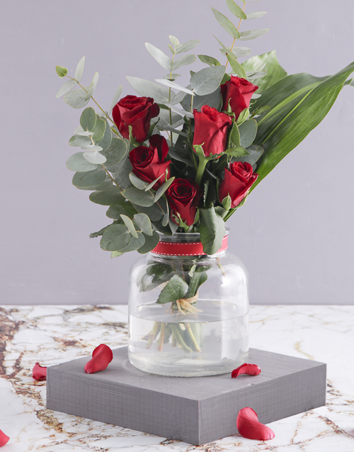 colour: Red Rose and Greenery Arrangement!