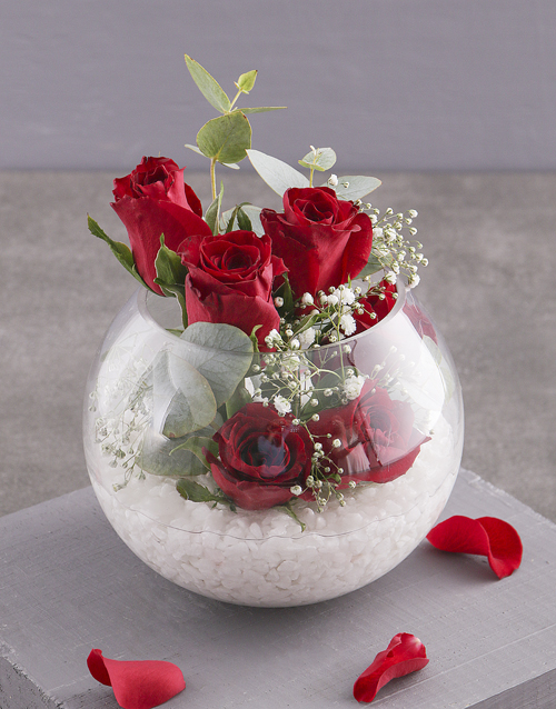 anniversary: Red Roses in Glass Bowl!