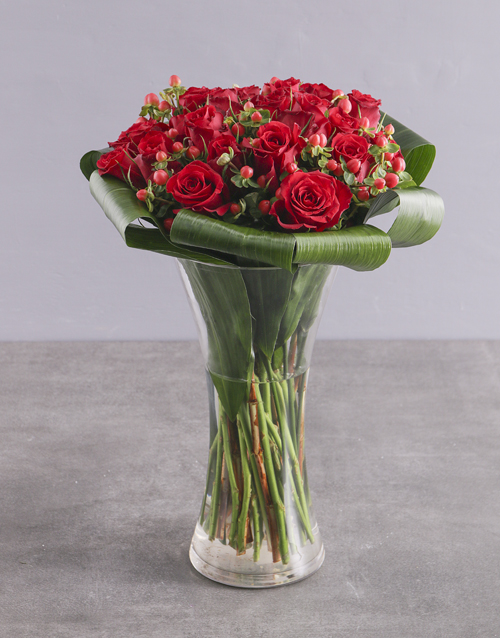 anniversary: Red Rose Halo Arrangement!