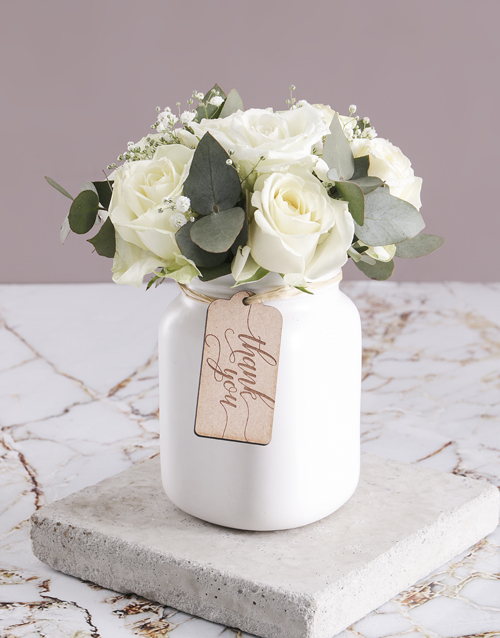 roses: Thank You Consol Jar of White Roses!