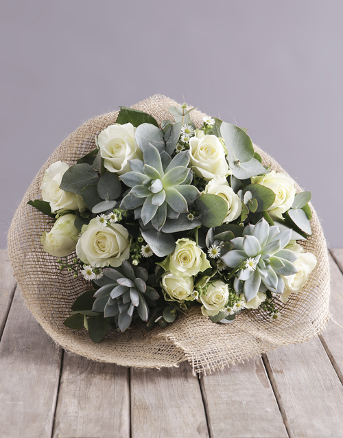 colour: Rustic Rose and Succulent Arrangement!