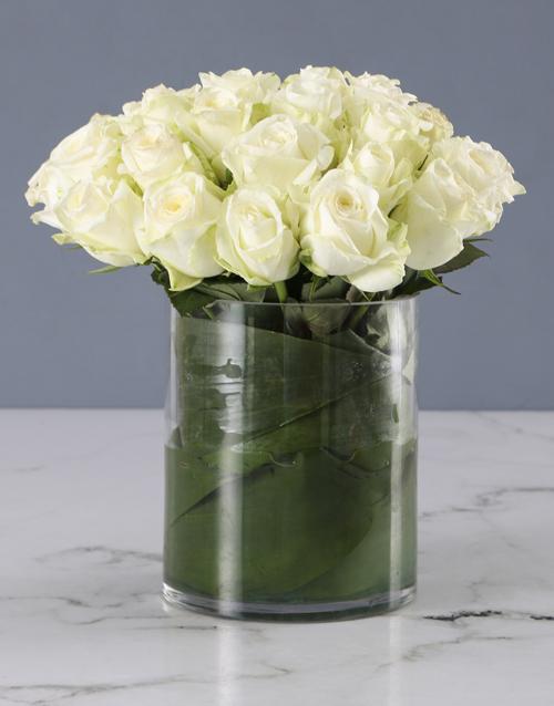 colour: Pure White Rose Arrangement!