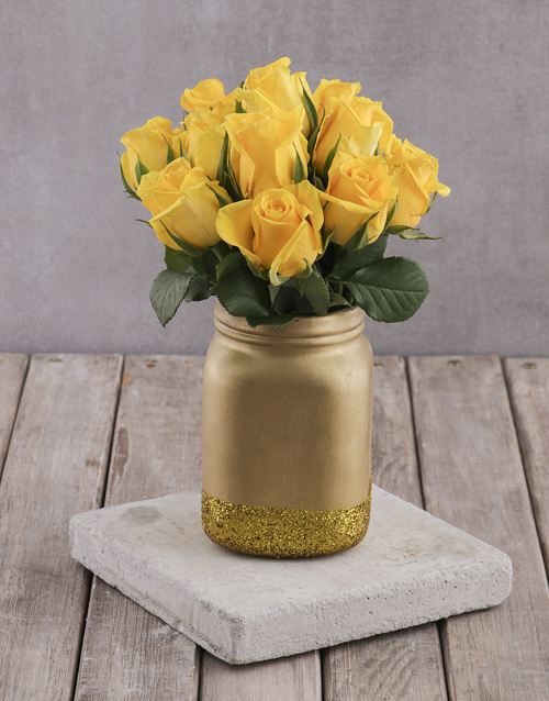 colour: Yellow Roses in Gold Consol Jar!
