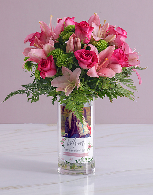 colour: Personalised Best Mom Roses Photo Vase!