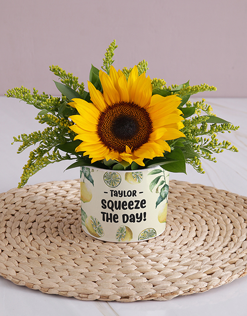 spring-day: Personalised Squeeze the Day Sunflower!