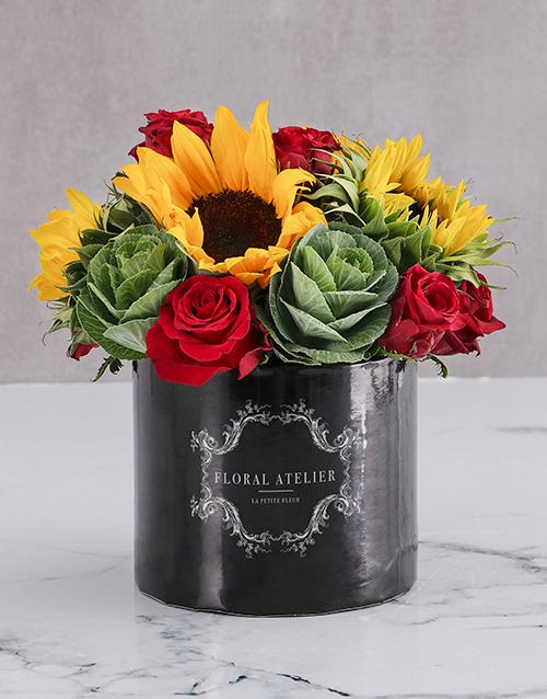in-a-box: Le Petit Fleur Sunflower Arrangement!