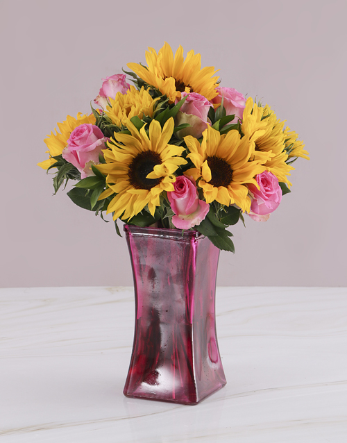 flowers: Pink Rose and Sunflower Vase!