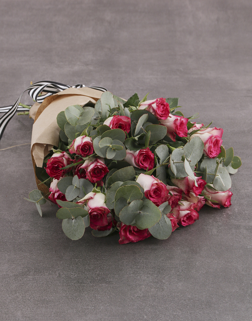 roses: Variegated Rose Bouquet!