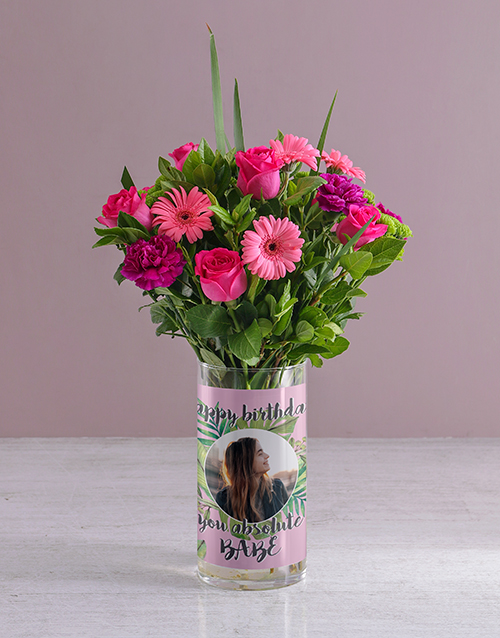 personalised: Personalised Happy Birthday Florals Photo Vase!