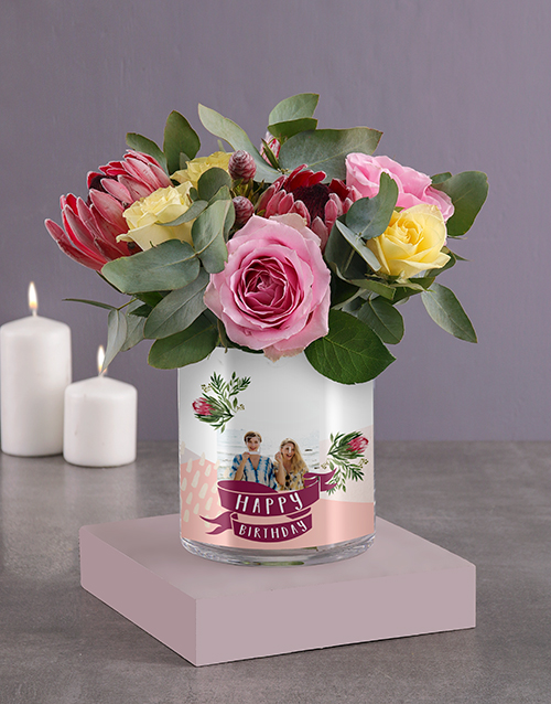 personalised: Personalised Birthday Roses Photo Vase!
