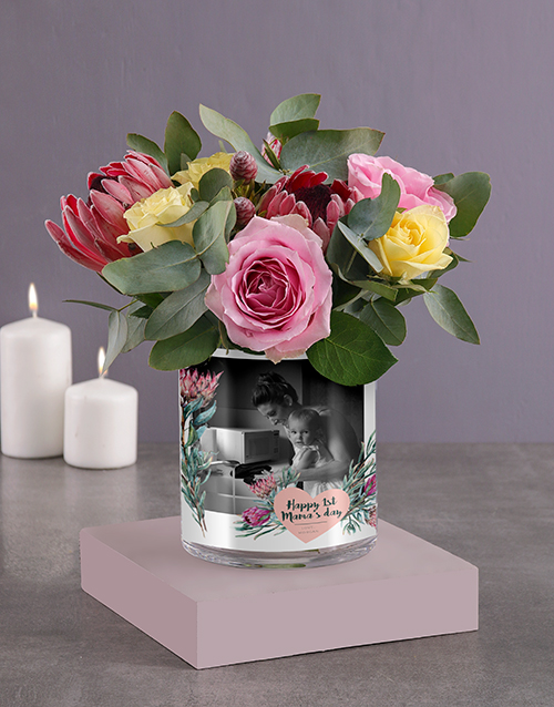 mothers-day: Personalised Florals For Mom Photo Vase!