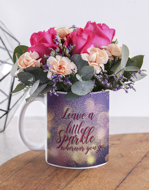 mugs: Leave A Sparkle Flower Mug!