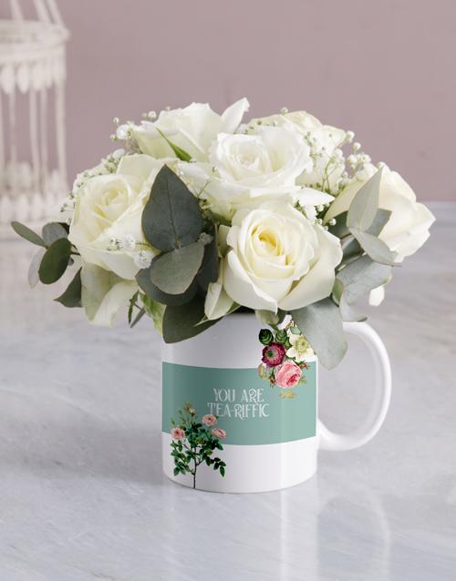flowers: Tea Riffic White Rose Mug!
