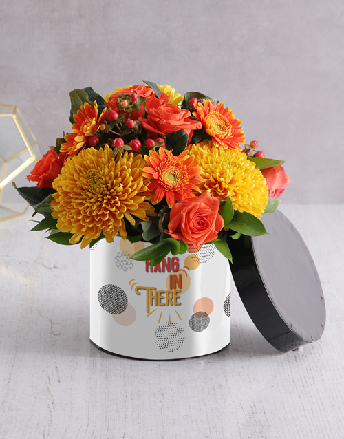 in-a-box: Hang in There Flower Arrangement in Hatbox!