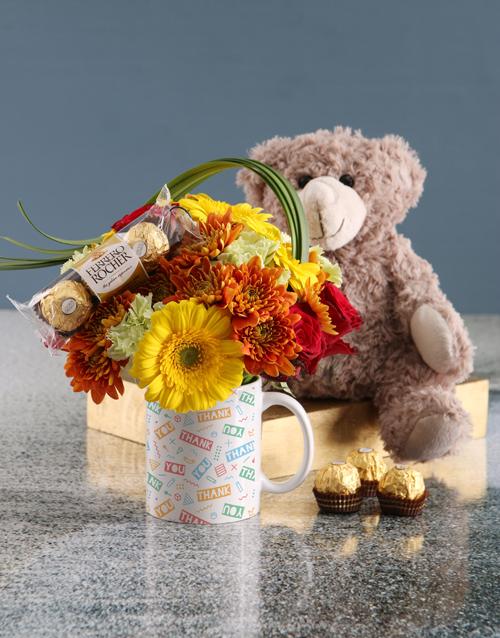 mugs: Colourful Thank You Floral Mug!