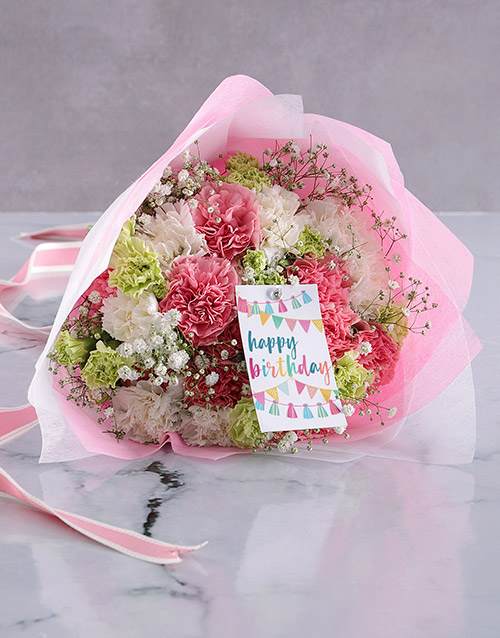 birthday: Pretty Pink Carnation Birthday Bouquet!