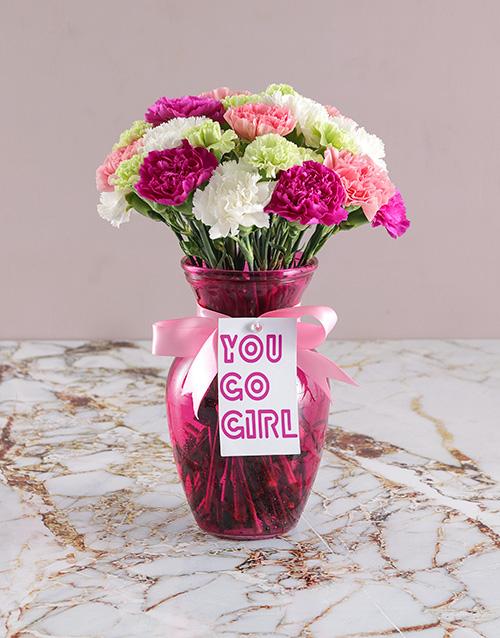 womens-day: Go Girl Carnation Arrangement!