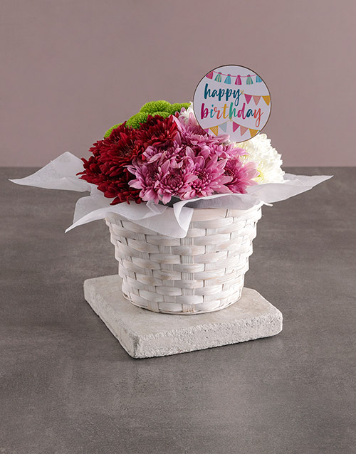 birthday: Happy Birthday Sprays In Basket!