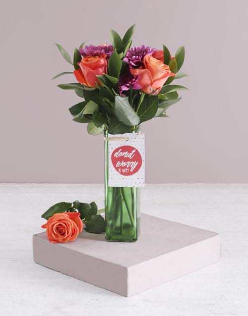 colour: Orange Blossoms In Glass Vase!