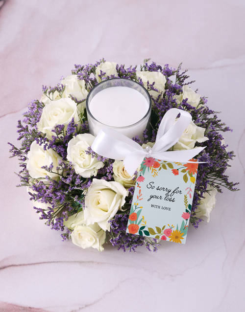 sympathy: White Sympathy Roses With Glass Candle!