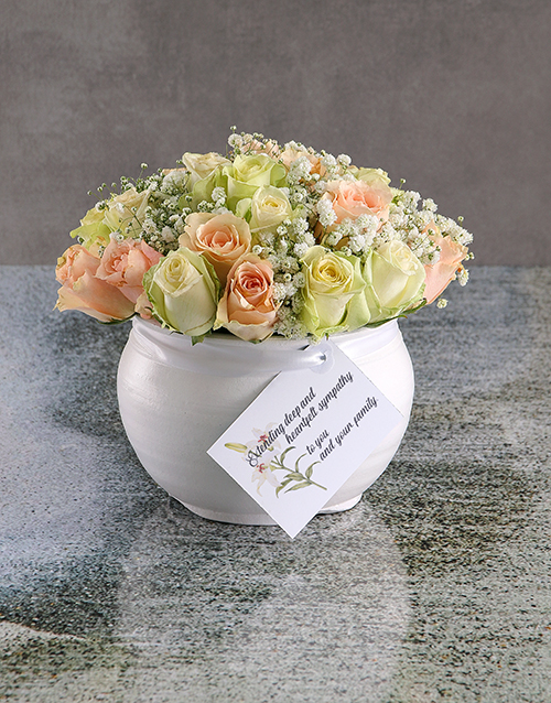 flowers: Mixed Sympathy Roses In White Ceramic Vase!