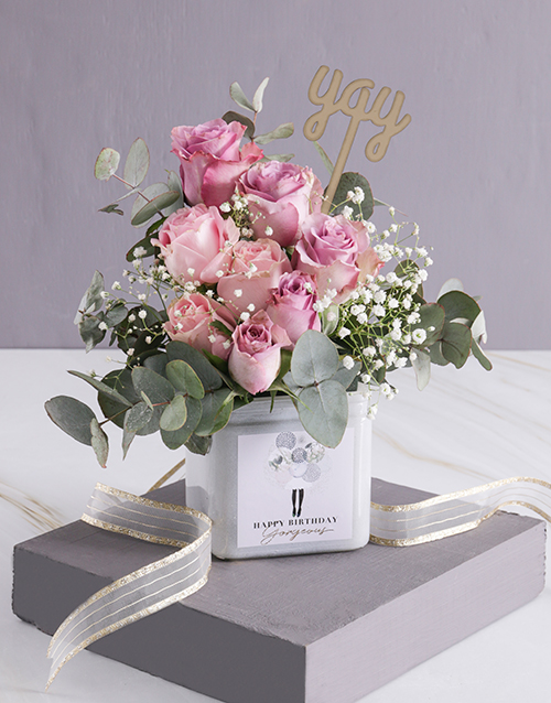 birthday: Divine Birthday Roses in a Vase!