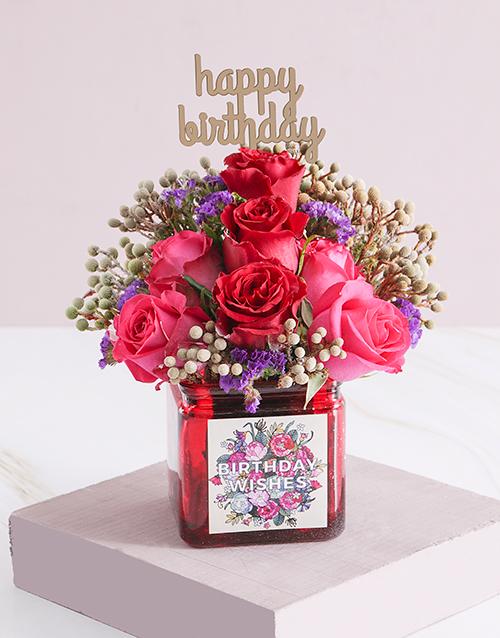 vase: Distinctive Birthday Blooms in a Vase!