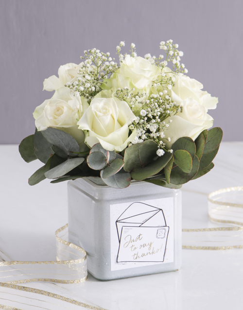 teachers-day: White Thank You Rose Blooms in a Vase!