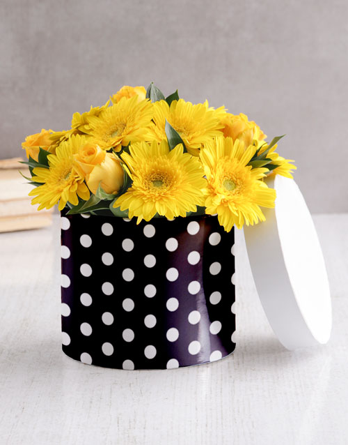 personalised: Mixed Yellow Flowers In Polka Dot Hat Box!